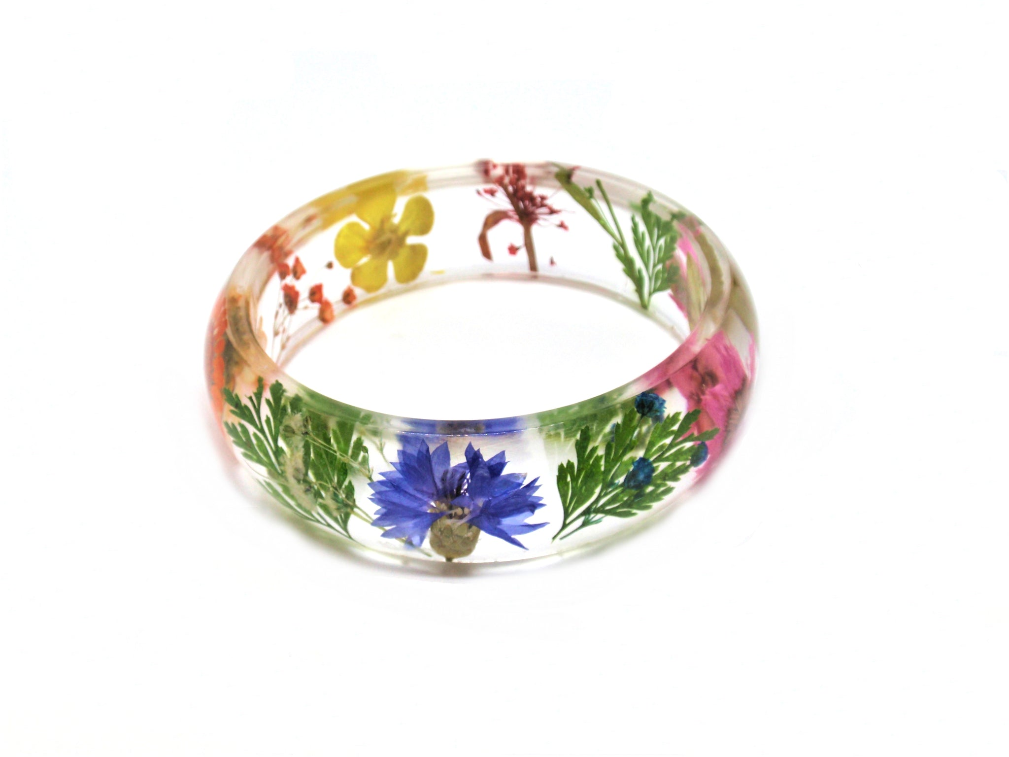 Real Flower Resin Bracelet, Pressed flower jewelry, Resin Bangle Bracelet