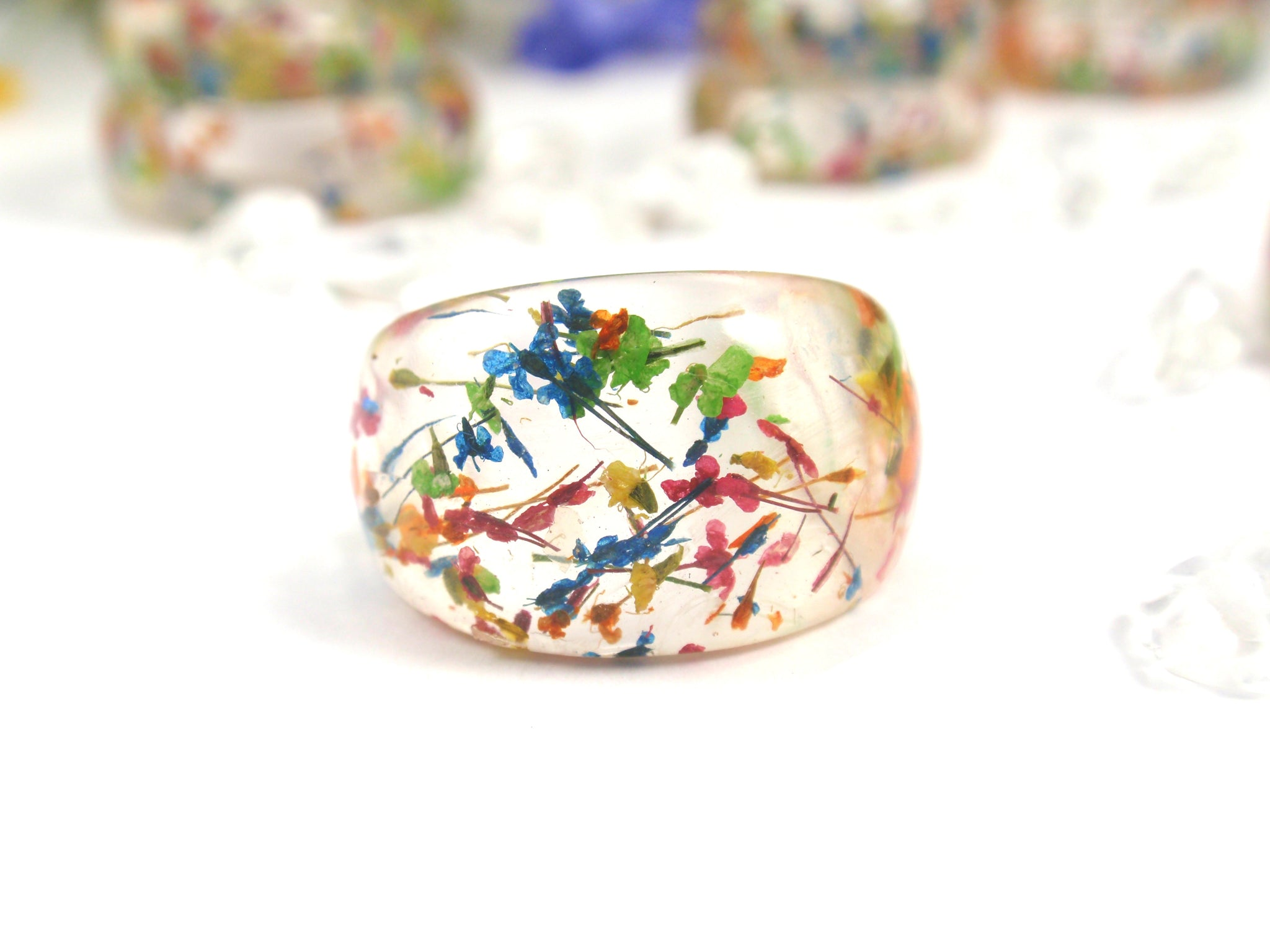 Real flower botanical ring