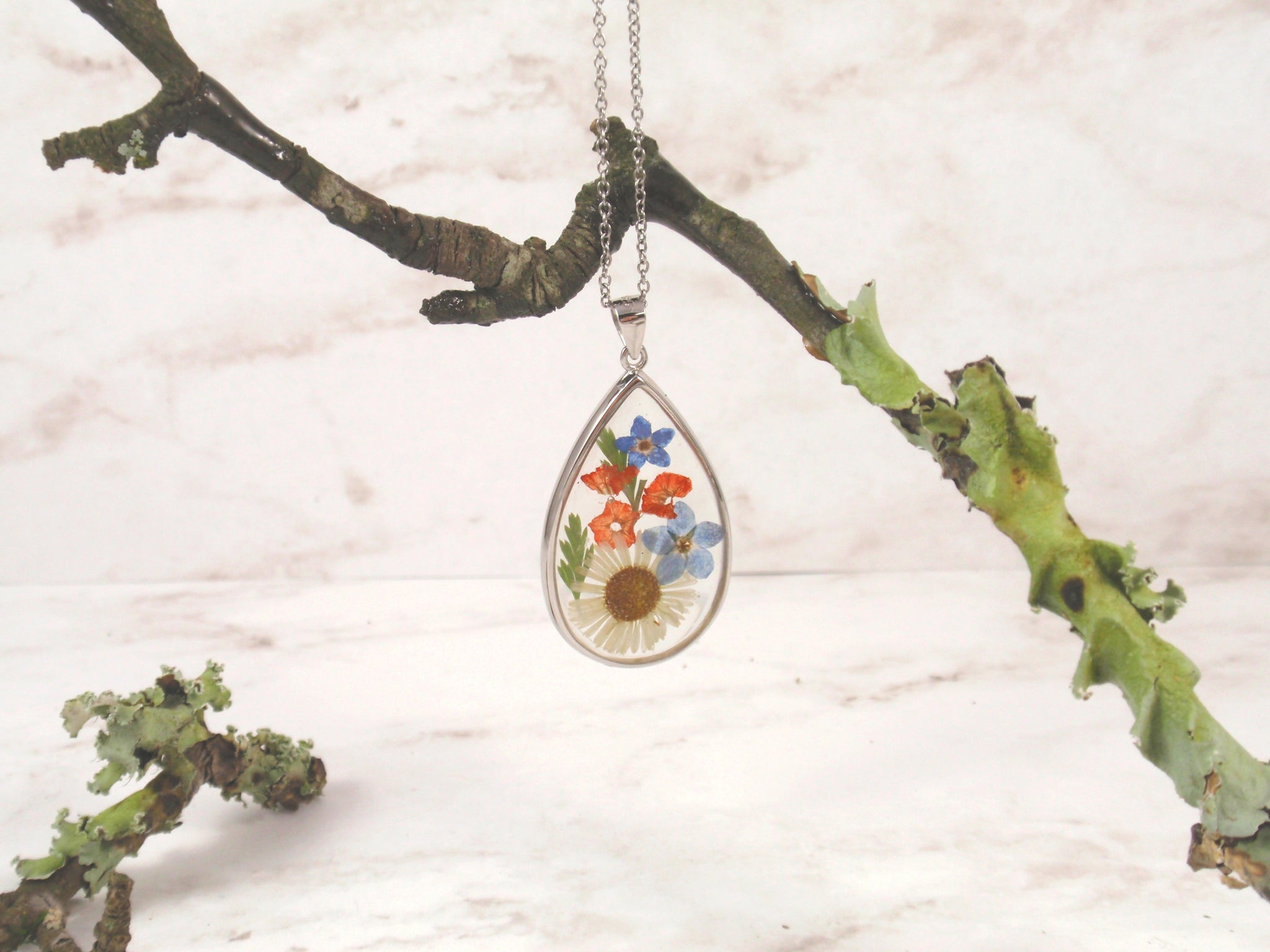 Pressed flowers necklace teardrop pendant