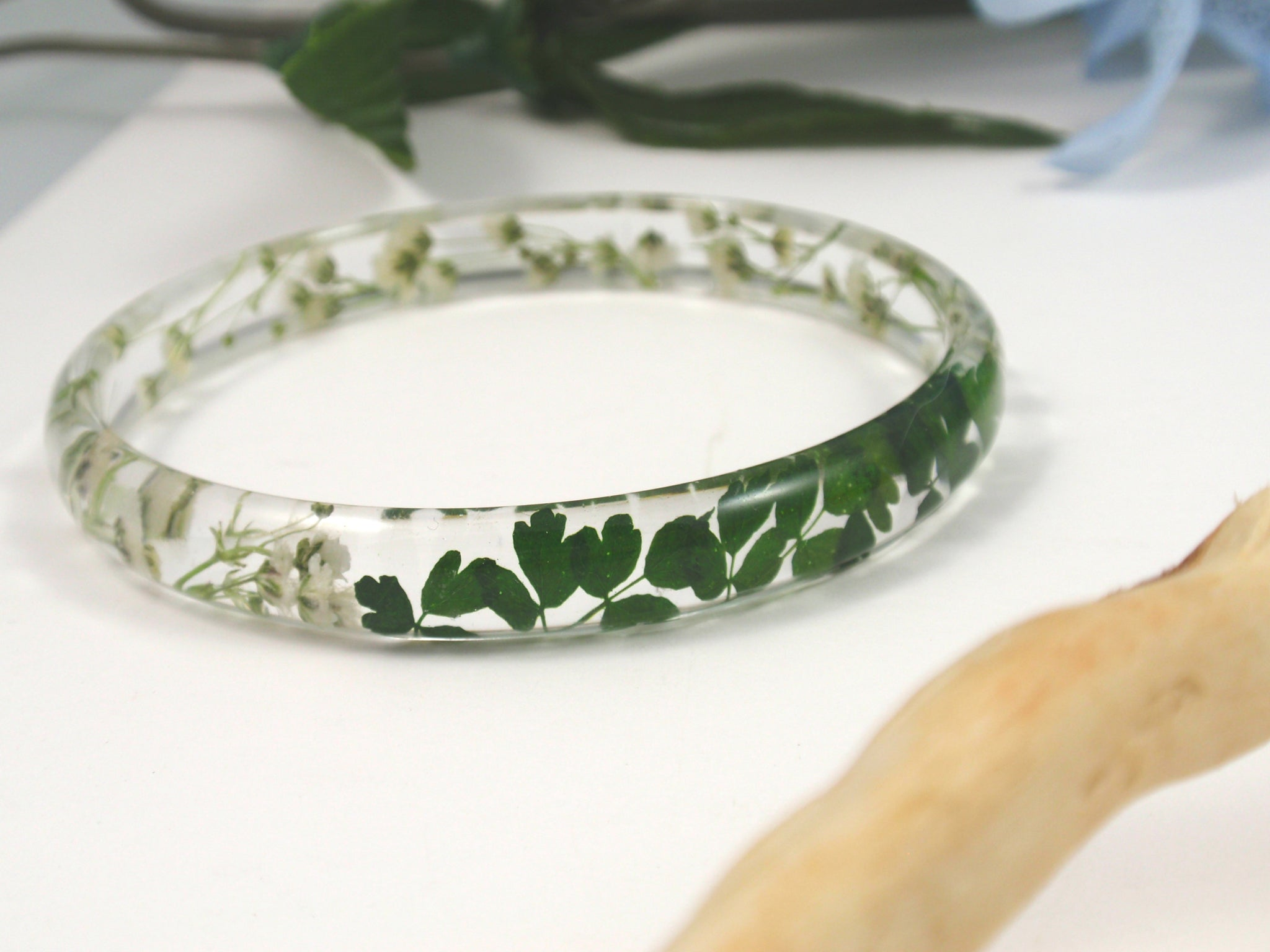 Botanical Bracelet, Resin Bangle Bracelet, Real Flower Resin Jewelry
