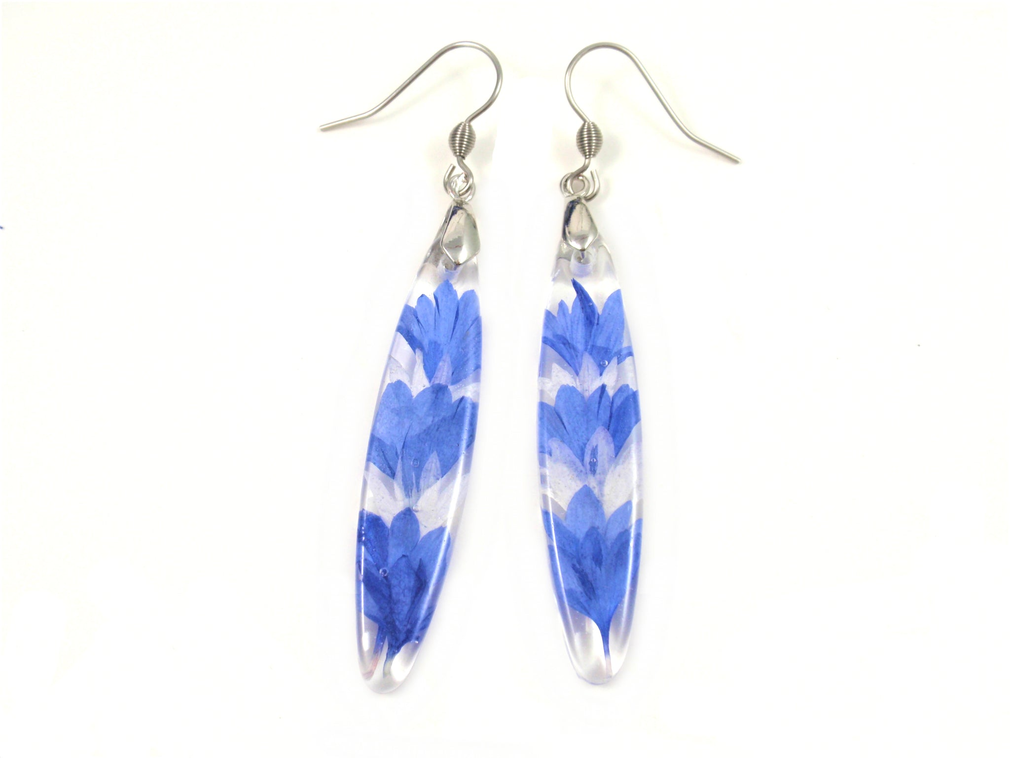 Pressed flower Nature earrings, Blue Cornflower petals Resin Jewelry