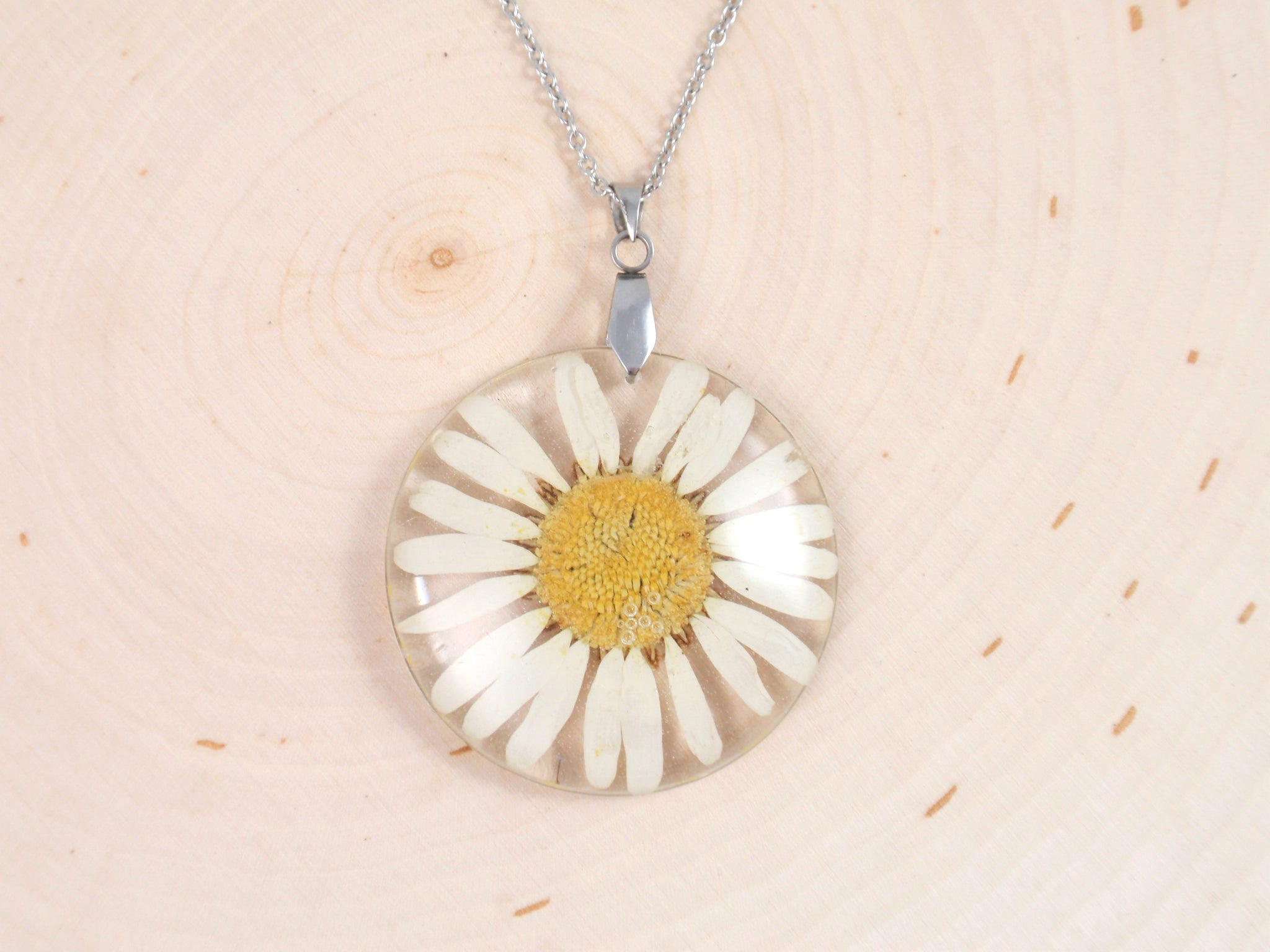 Real Daisy resin Necklace april birth flower necklace