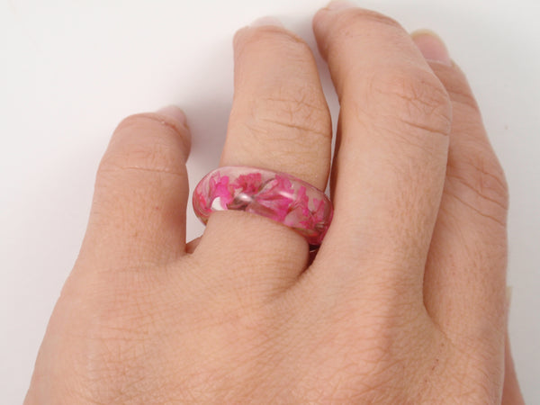 Real flower Resin ring, Nature ring, Flower jewelry, Pressed flowers jewelry