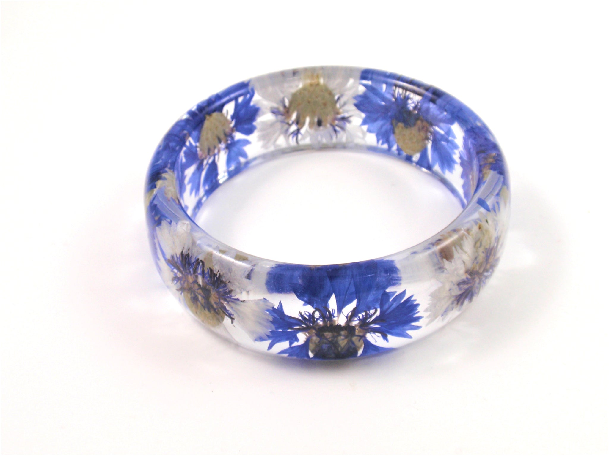 Blue Cornflower Resin Bangle Bracelet, Real Pressed Flowers