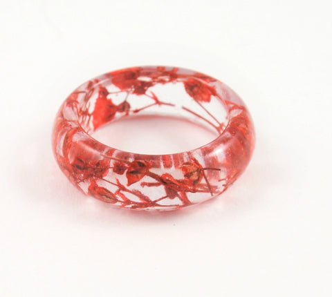 Handmade band ring, Red flower ring, Nature jewelry
