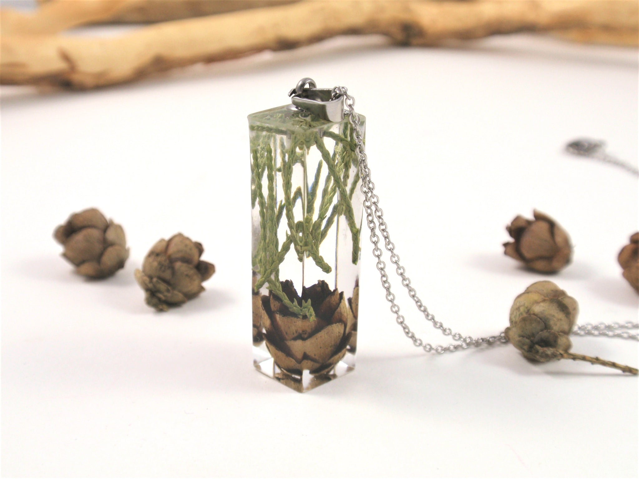 Handmade Necklace with Real Pine cone and greens, Botanical Jewelry, Terrarium Necklace