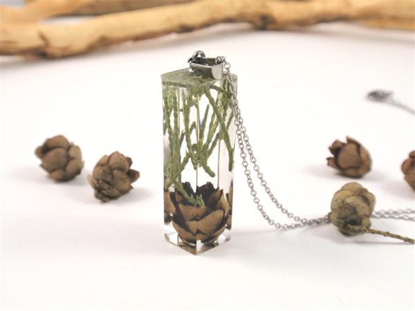 Bar Necklace with Real Pine cone and greens, Botanical Jewelry, Terrarium Necklace