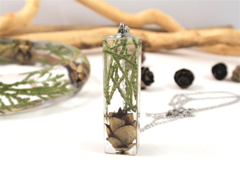 Real Pine cone and greens resin necklace