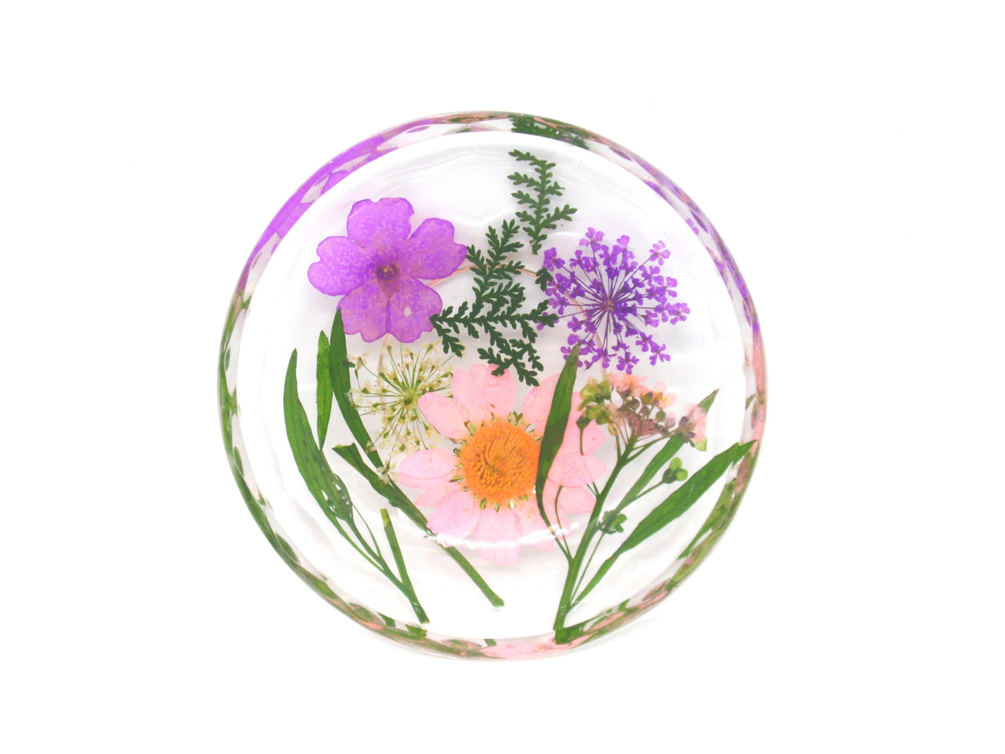 Real flower ring dish, decorative resin trinket dish