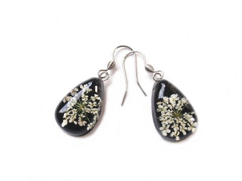 Queen Annes Lace Resin Earrings, Real Flower Resin Earrings