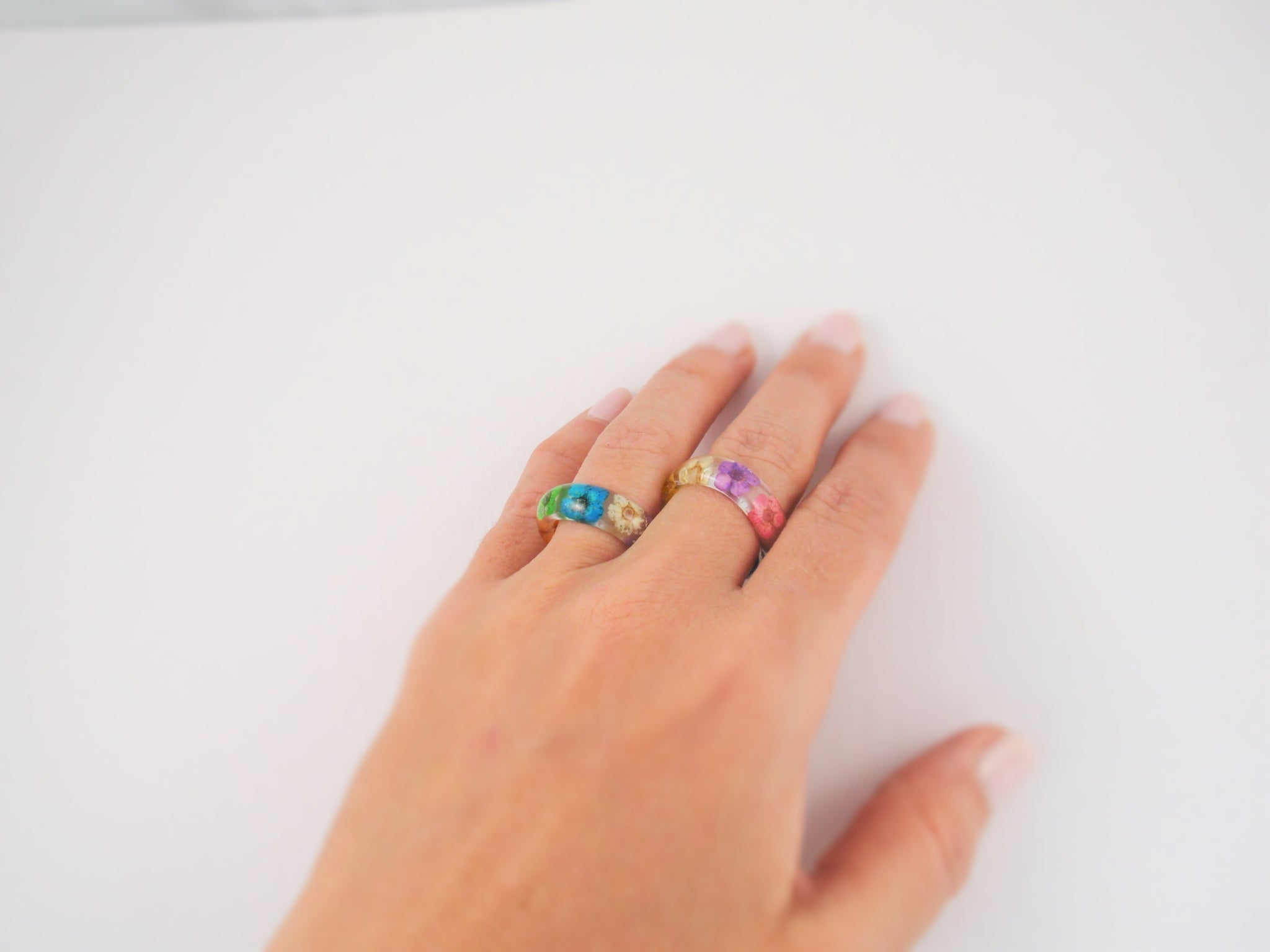 Real flower Resin ring, Nature ring, Rainbow ring