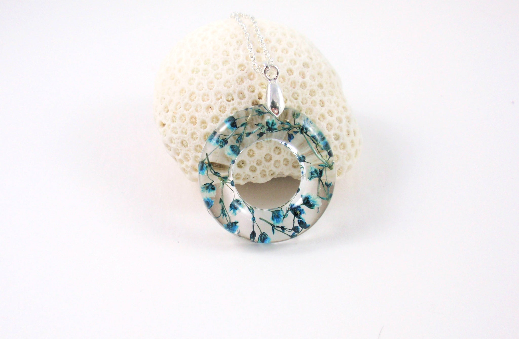 Blue Flower Resin Necklace, Donut Pendant, boho jewelry