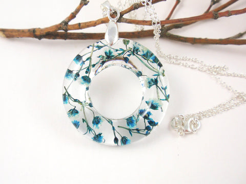 Blue Flower Resin Necklace