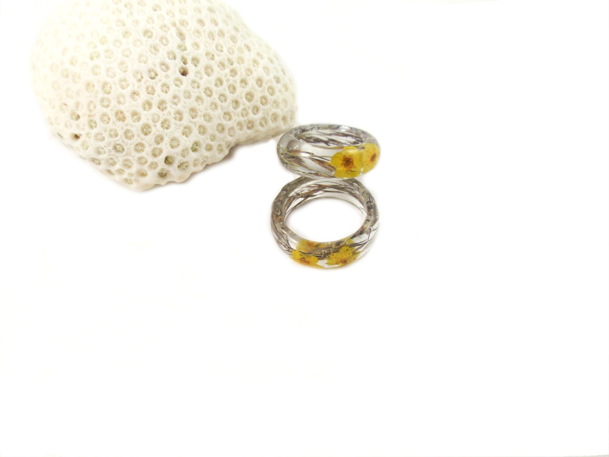 Nature ring, Real flower Resin ring, botanical jewelry