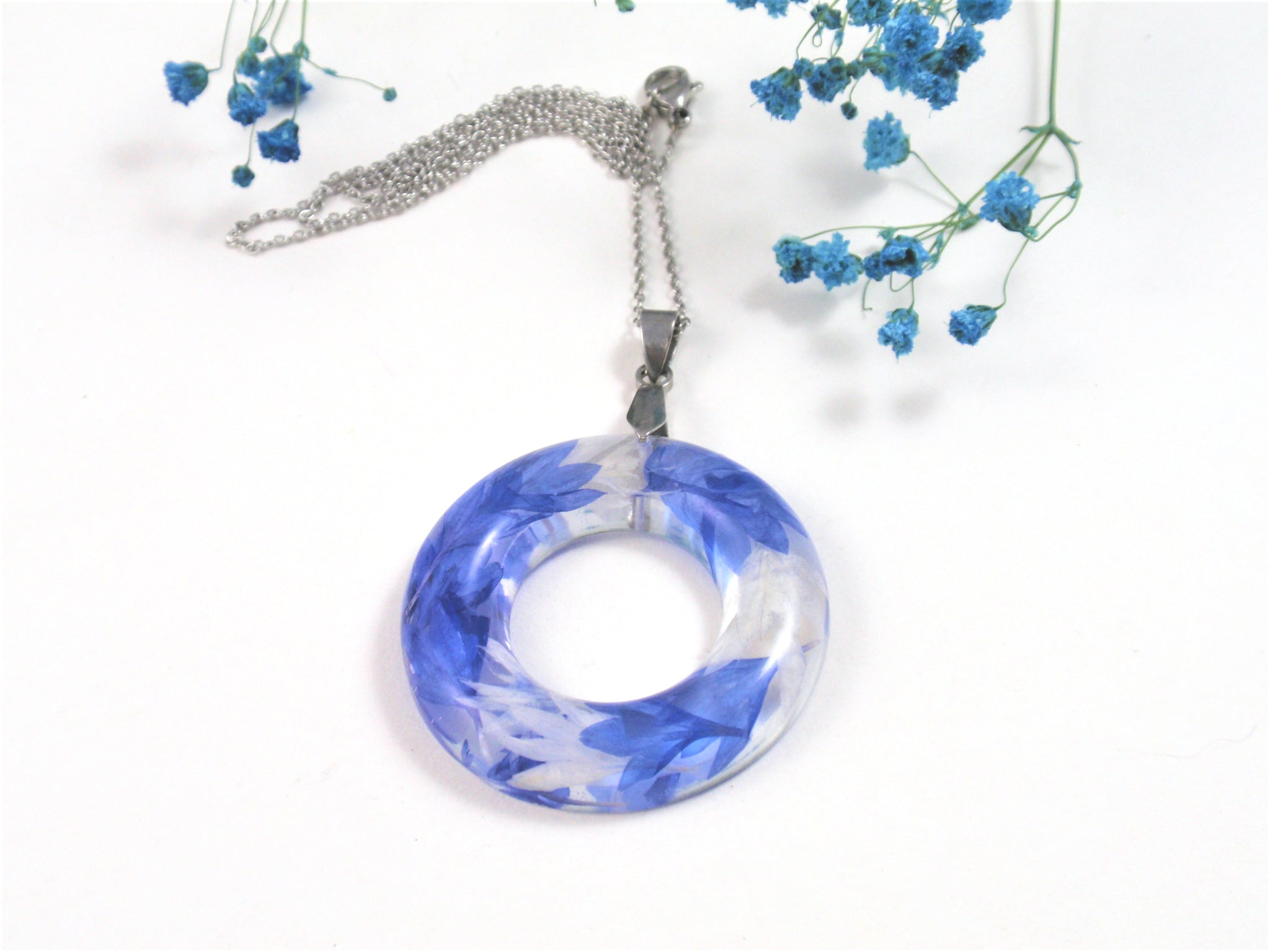 Botanical Pendant Real Flower Encased in Resin, Blue Cornflower flower pendant
