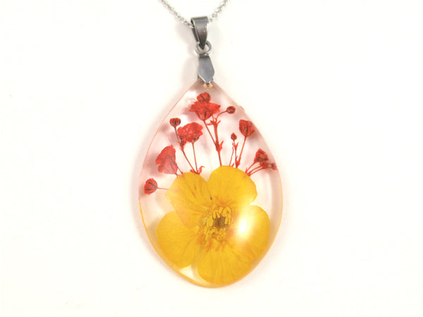 Buttercup flower Resin Pendant