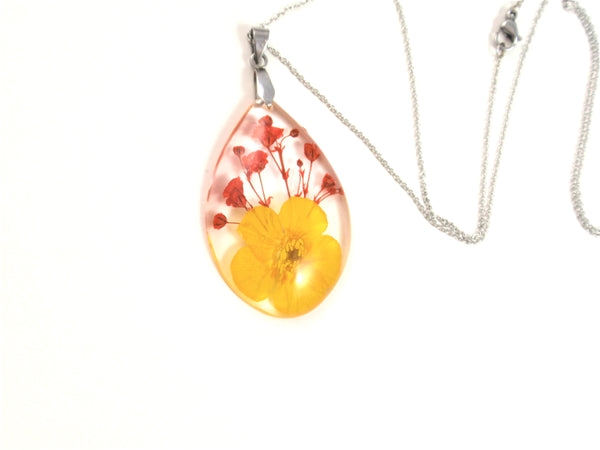 Buttercup flower Resin Pendant, Pressed Flower Jewelry, Real flower Necklace