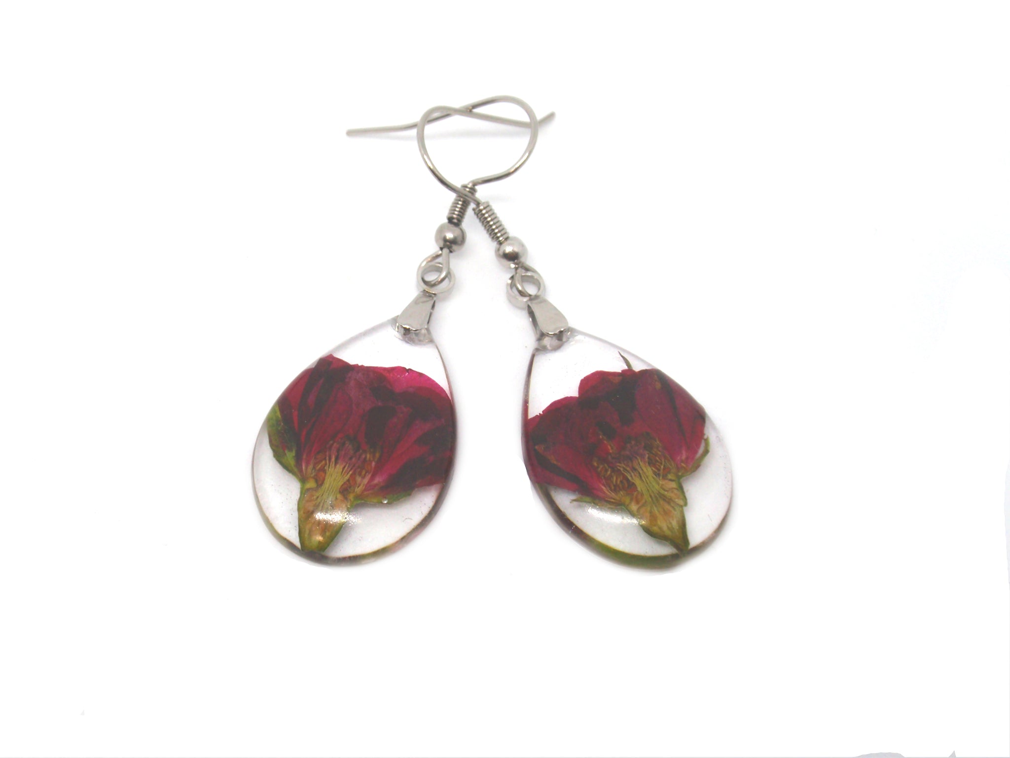 Red Rose buds Resin Earrings Botanical Earrings