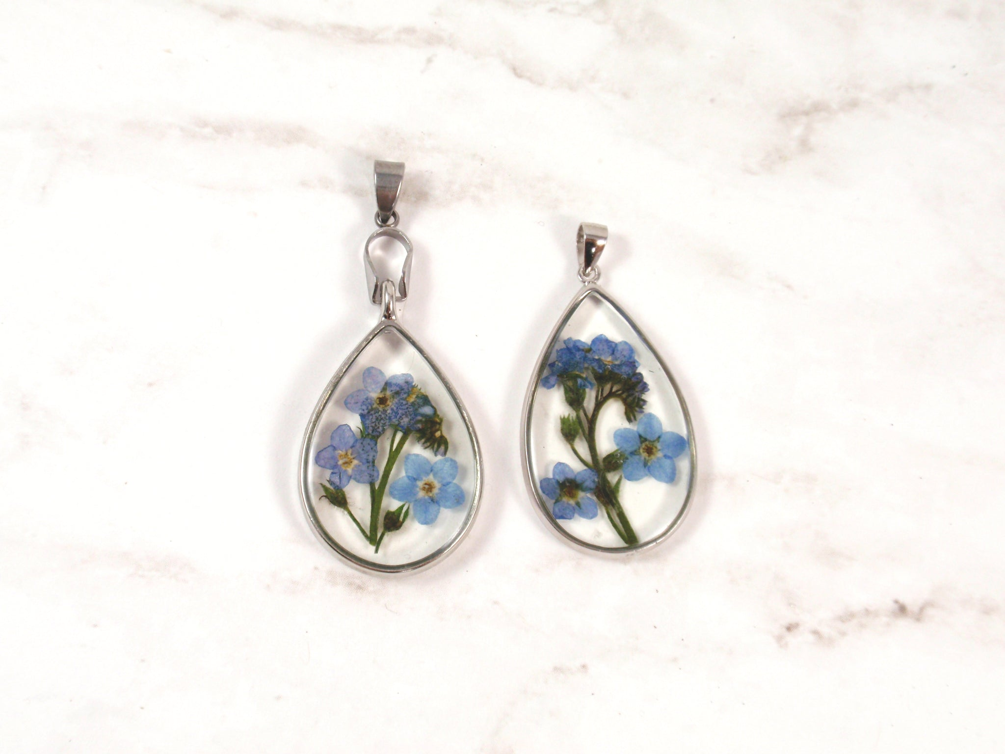 Forget me not flower necklace teardrop pendant