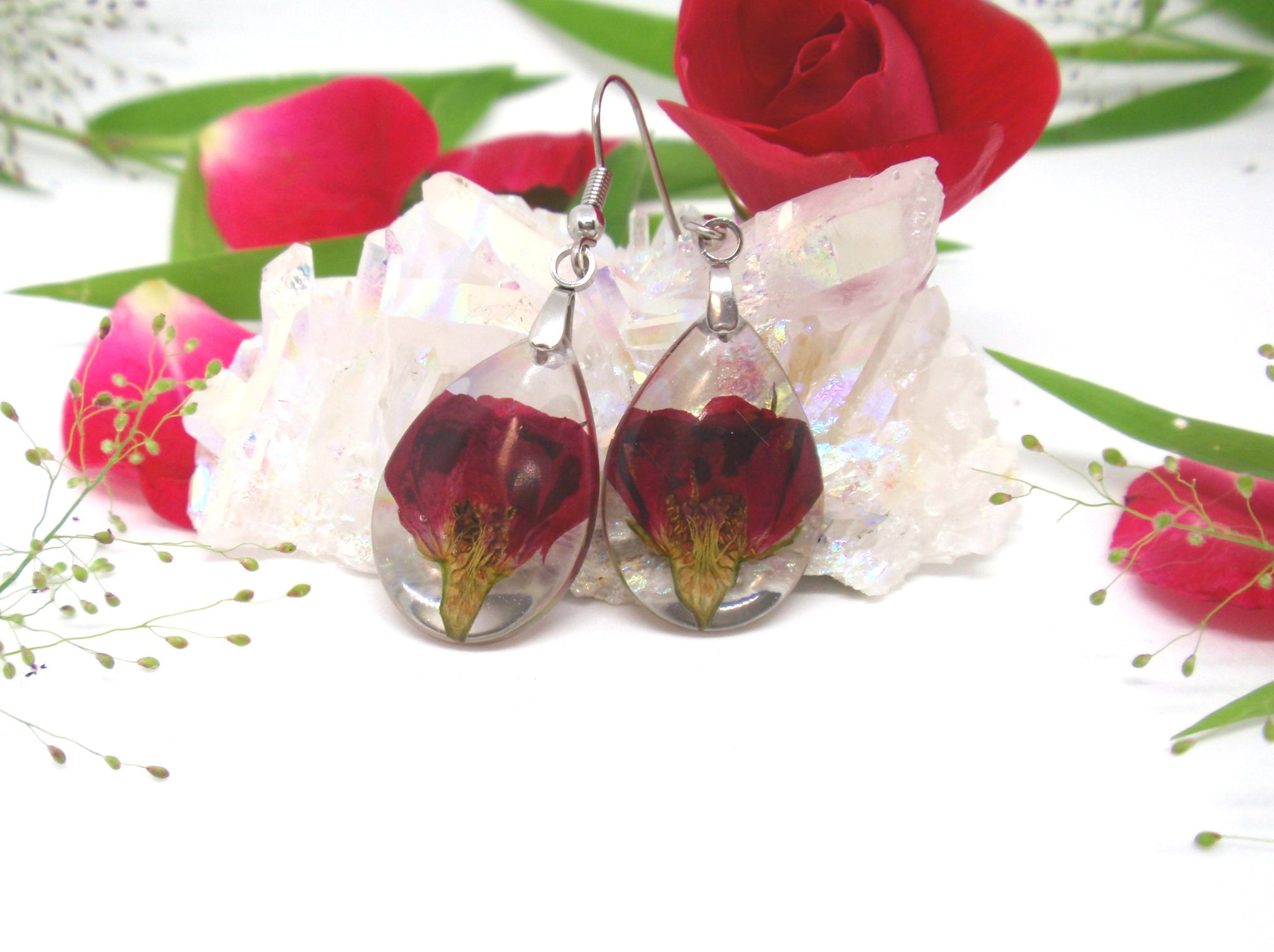 Red Rose buds Resin Earrings