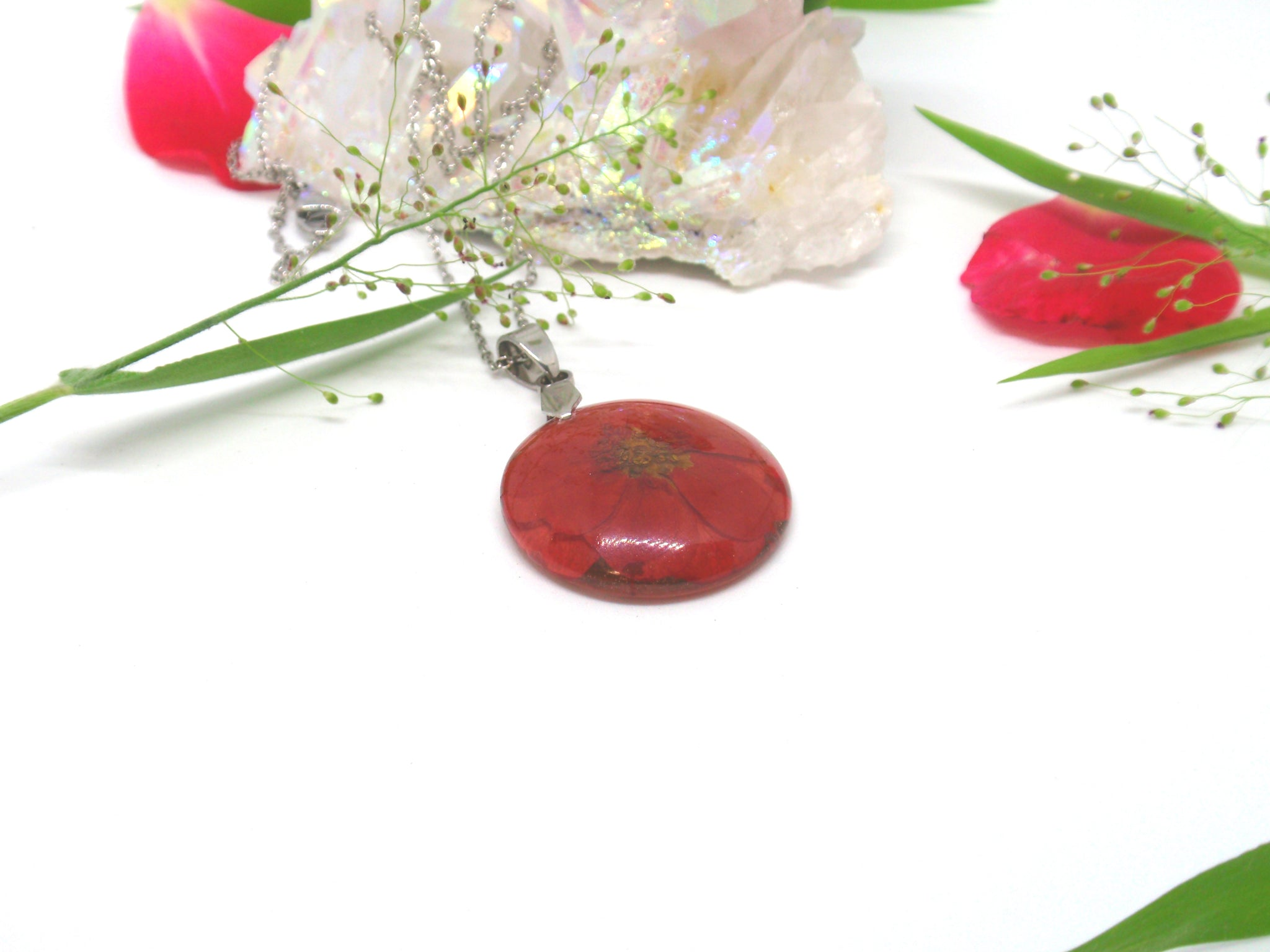 Mini Red Rose necklace June Birth month flower