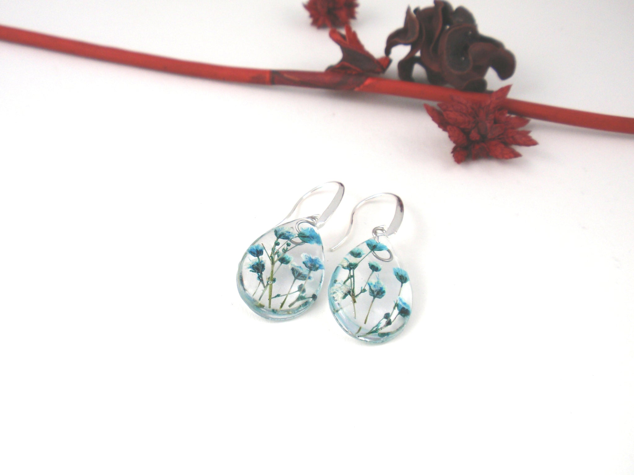 Botanical Resin Earrings with blue Babys breath flowers