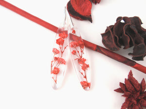 Red Baby's breath Flowers dangle Earrings, Nature jewelry