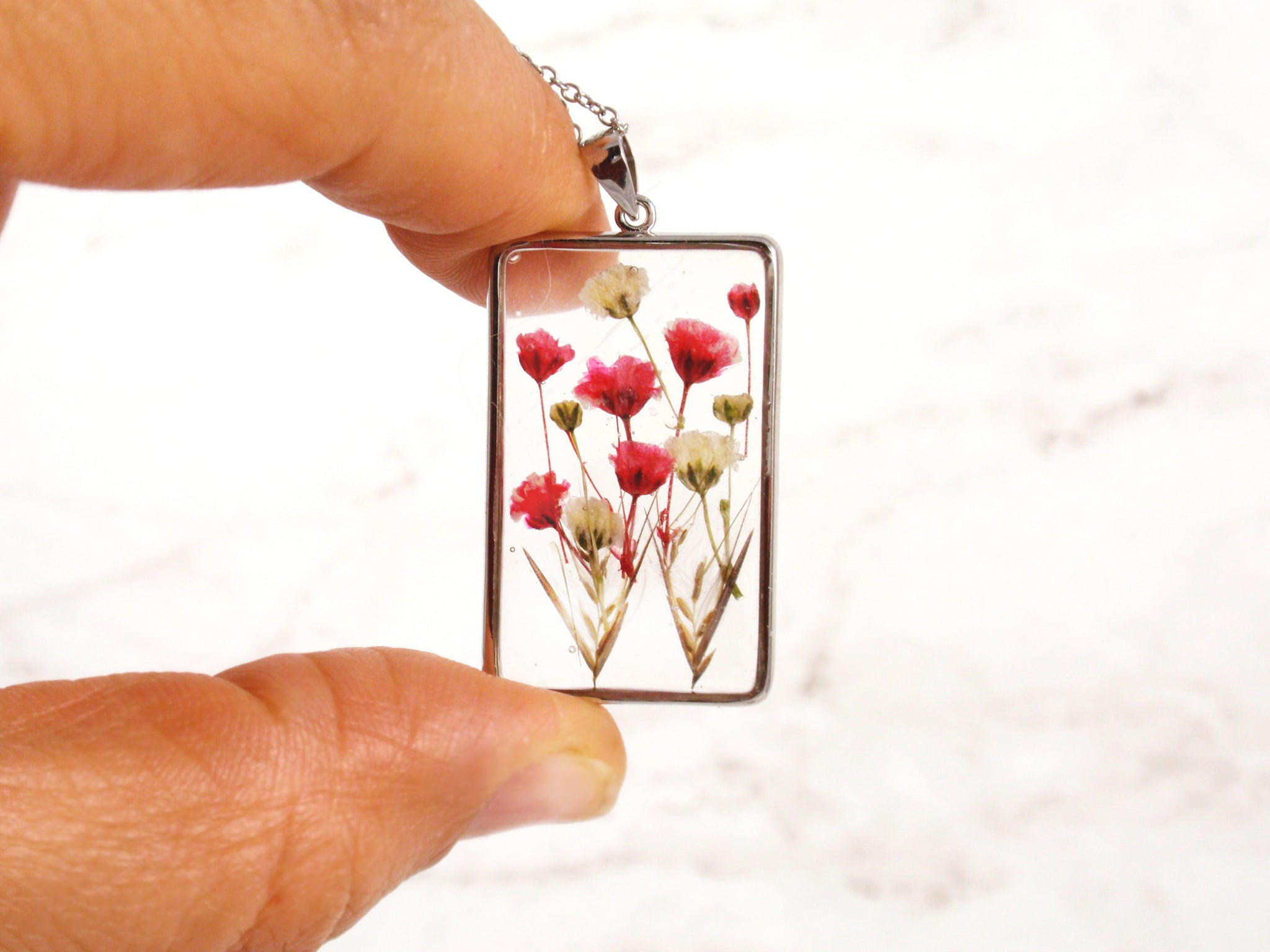 Pressed flowers Rectangle silver necklace real Babys breath flowers in resin