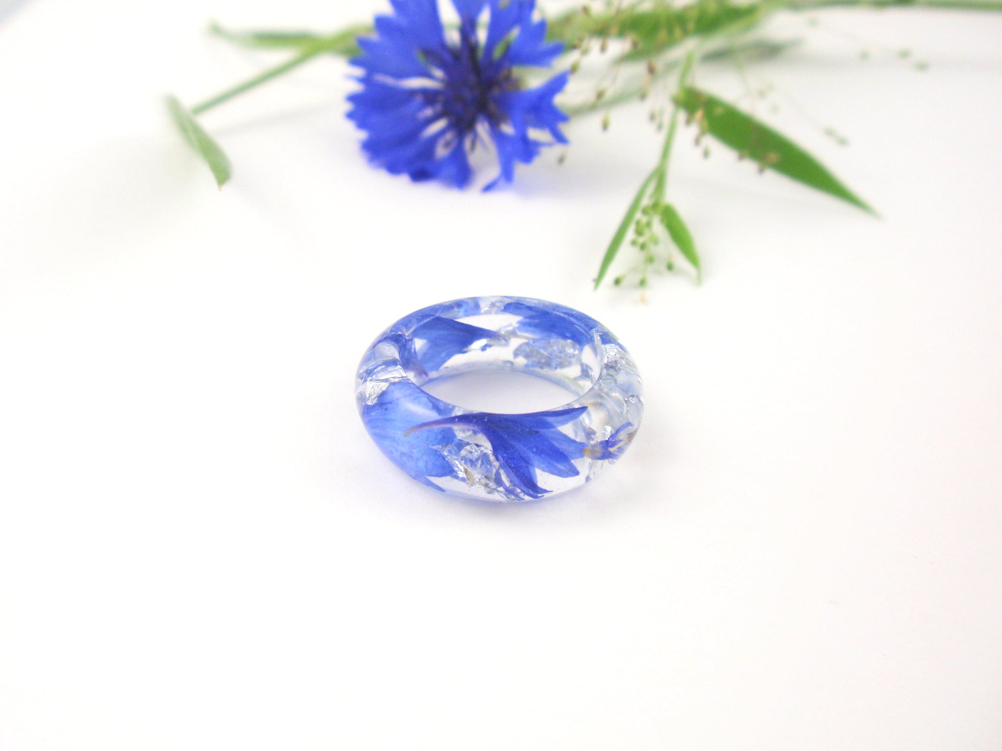 Pressed flower ring, Real Flower ring with silver flakes