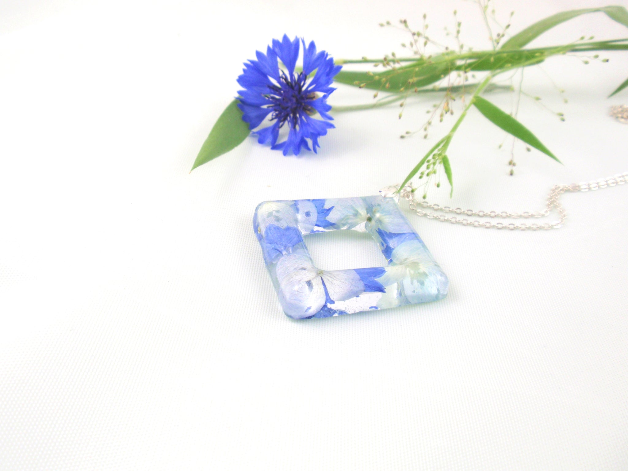 Handmade Blue Hydrangea flowers necklace, Nature jewelry
