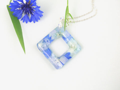 Handmade Blue Hydrangea flowers necklace