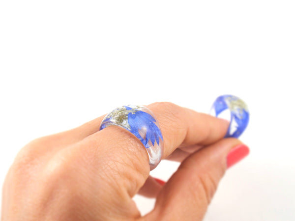 Forget me not Resin ring, Nature ring, Real flower ring