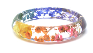 Rainbow real flower bracelet