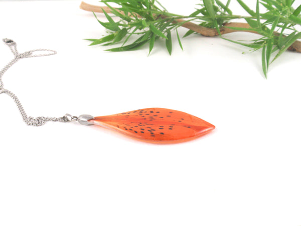 Handmade Orange Tiger Lily Pendant, Real Flower Necklace