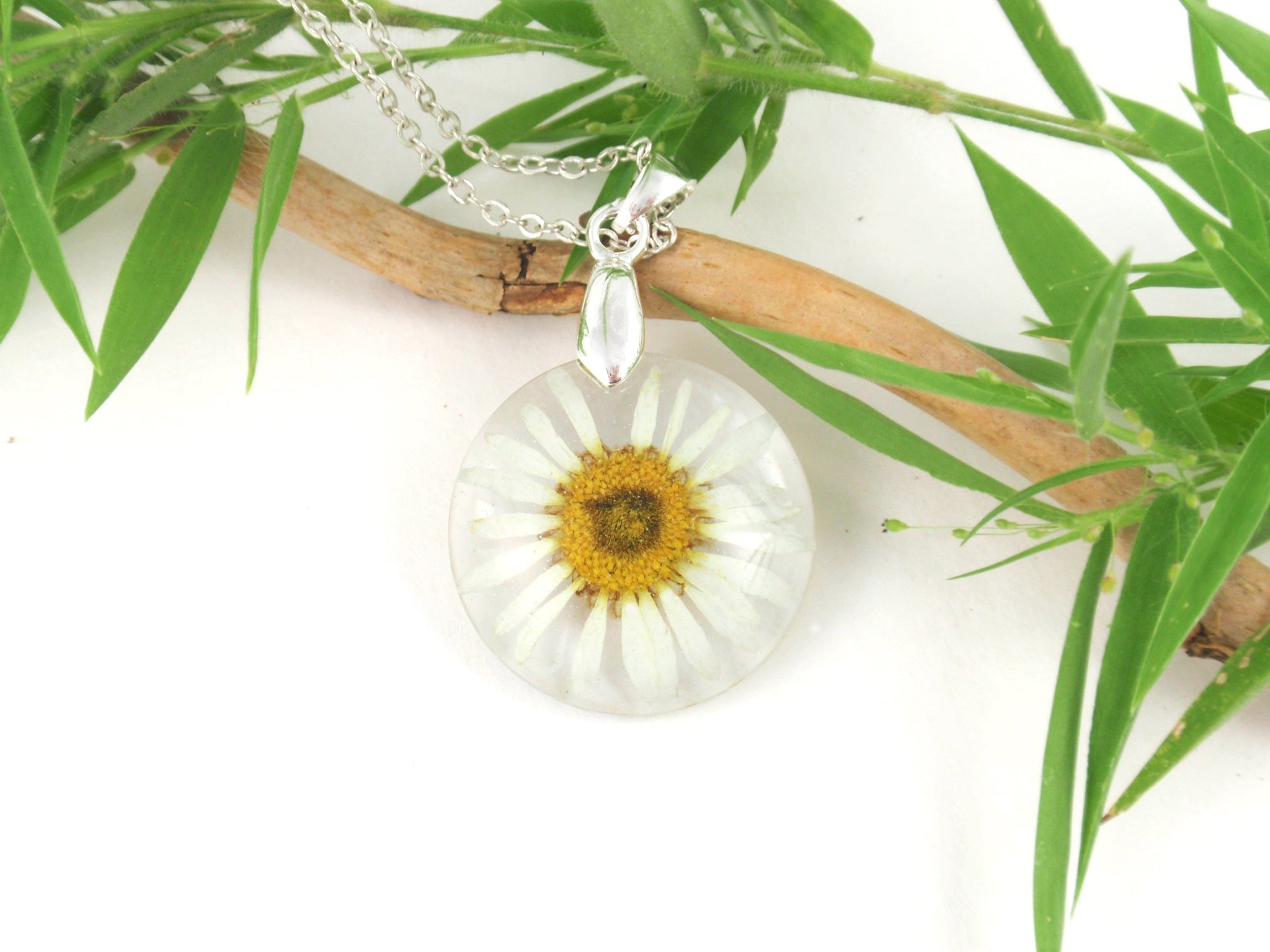 Real Daisy resin Necklace