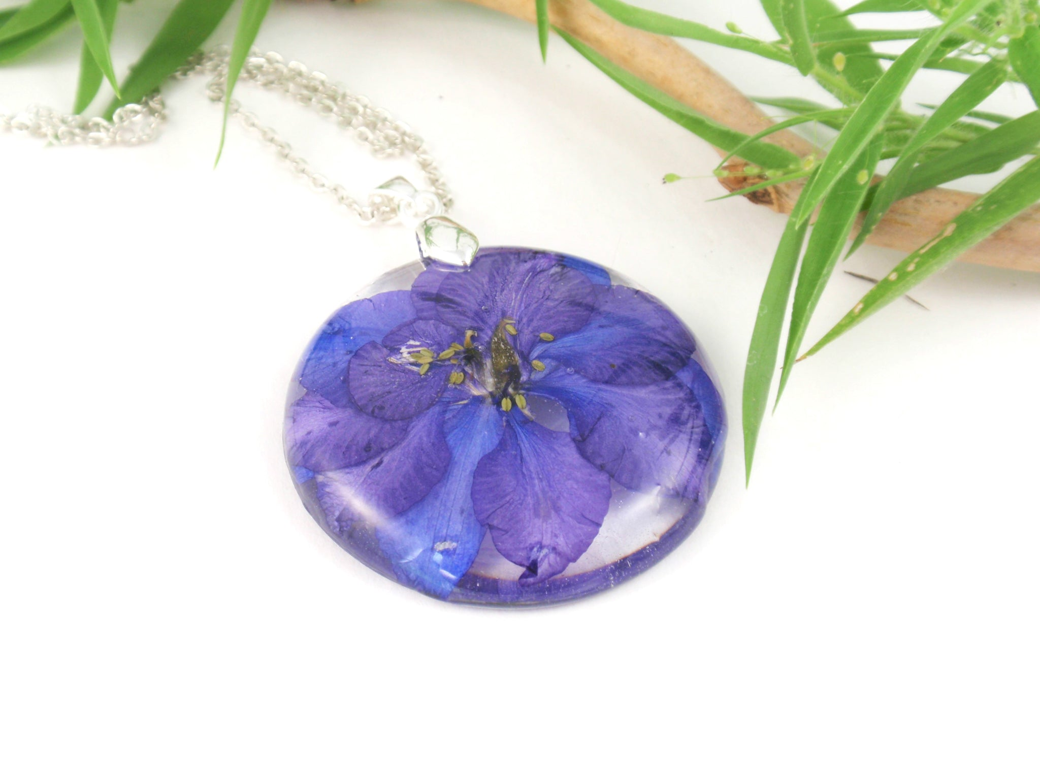 Handmade Flower Resin Necklace Blue Larkspur jewelry, Birth month flower JULY