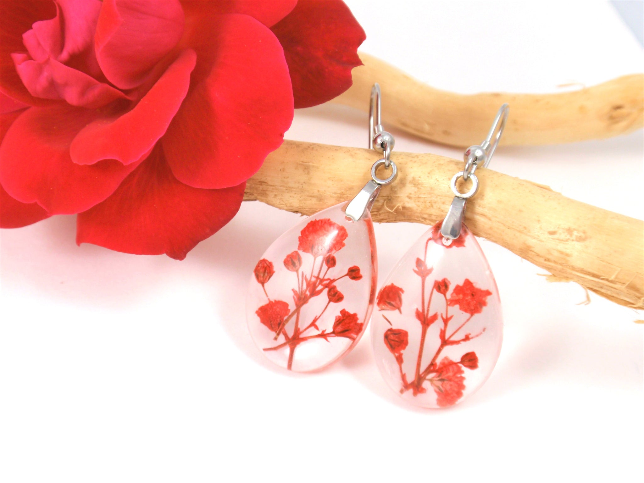 Pressed Flowers handcrafted earrings