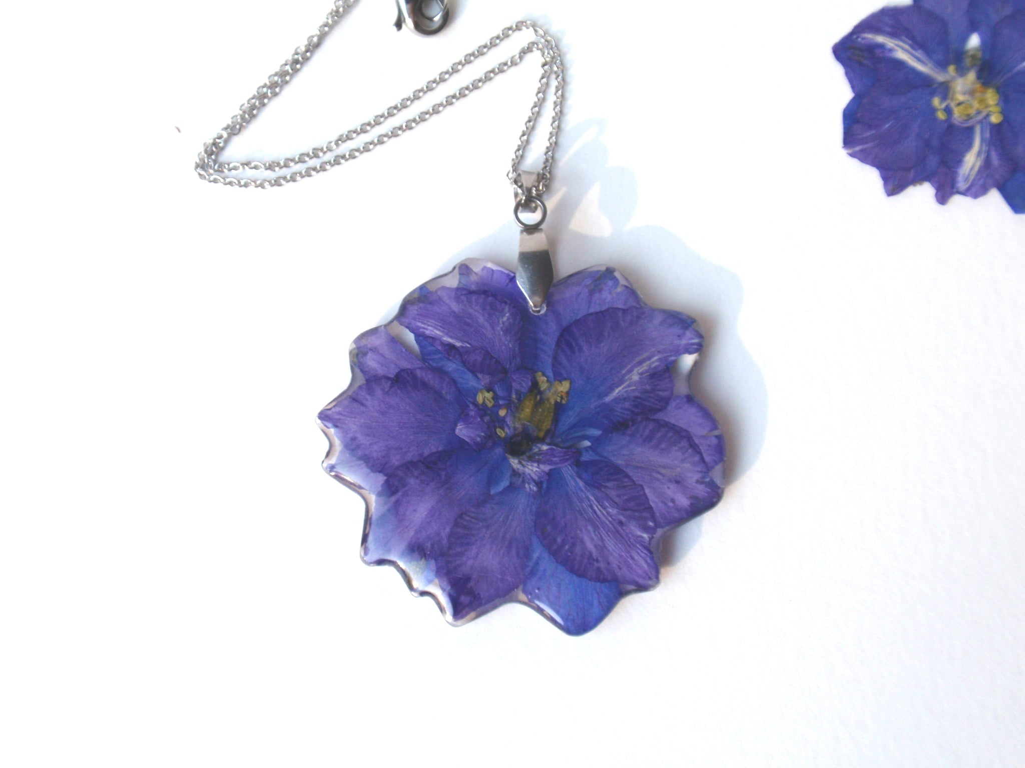 Blue Flower Resin Pendant, Real Pressed Flowers Jewelry, Blue Larkspur