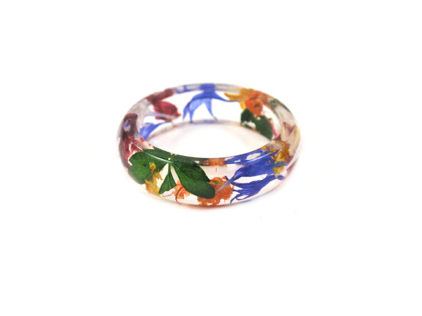 Multicolor Nature ring, Flower round band ring