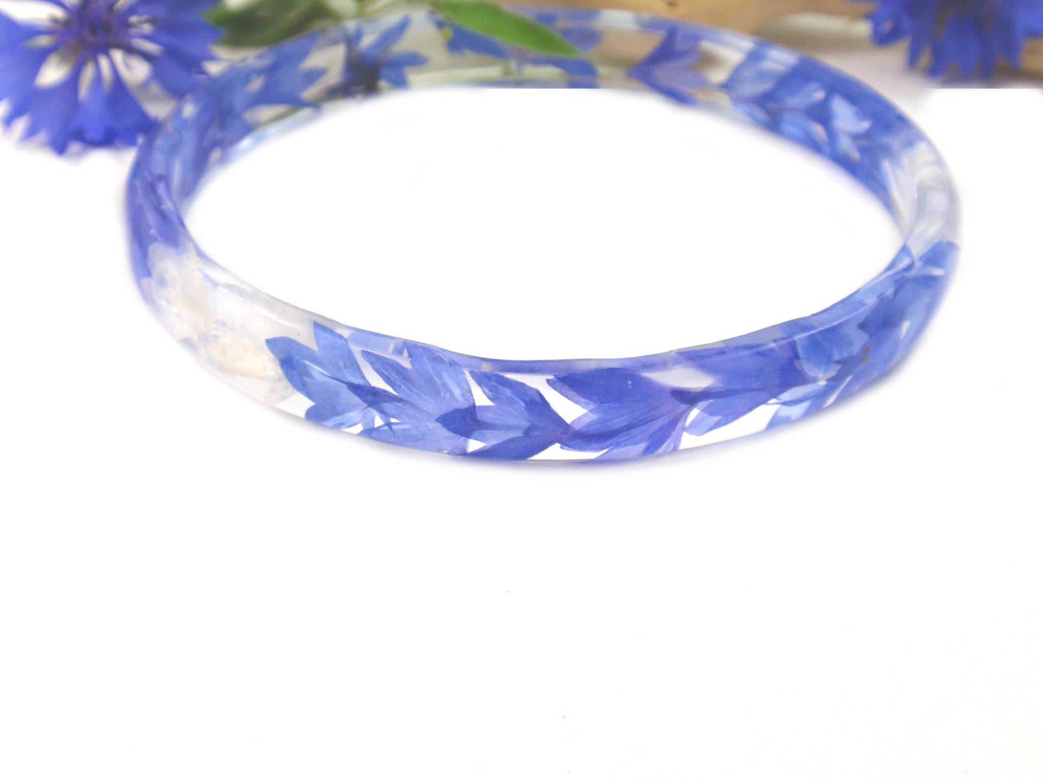 Blue Cornflower Petals, Real Flower Resin Bracelet