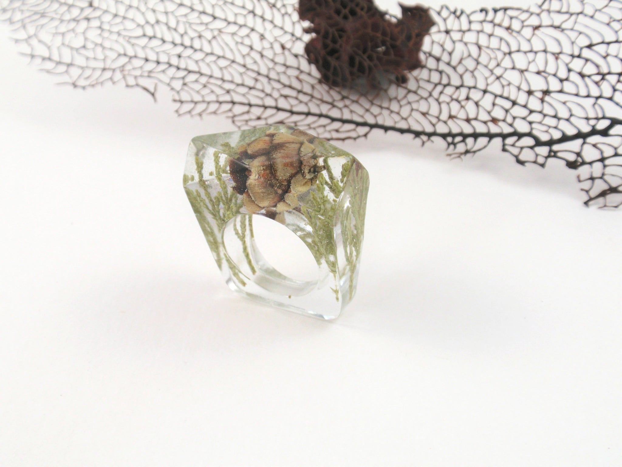 Pine cone and greens Nature ring, Resin ring, Pressed flower jewelry, Botanical ring