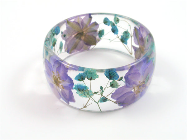 Purple flower bangle bracelet, Pressed flower jewelry