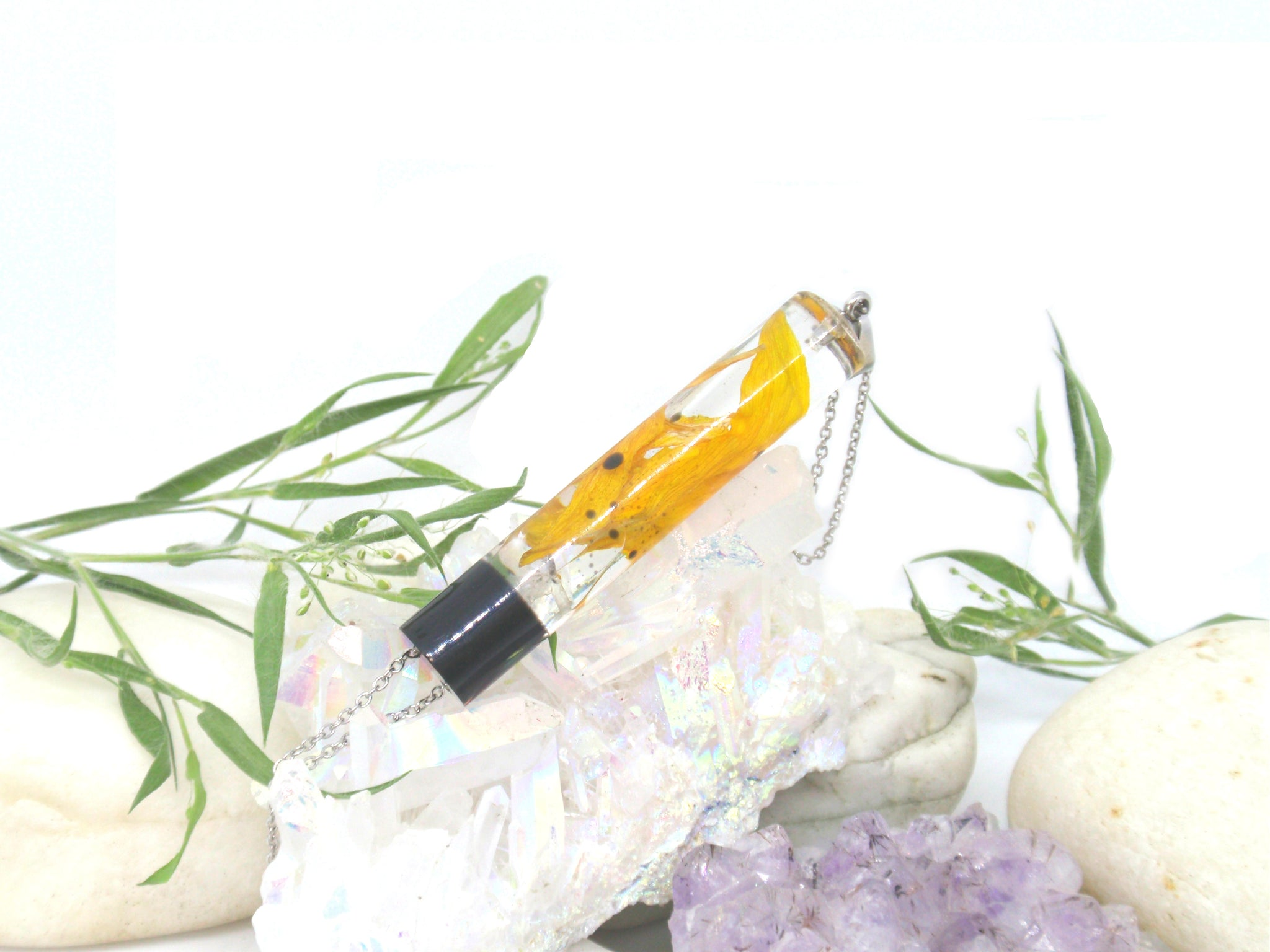 Sunflower petals Terrarium necklace