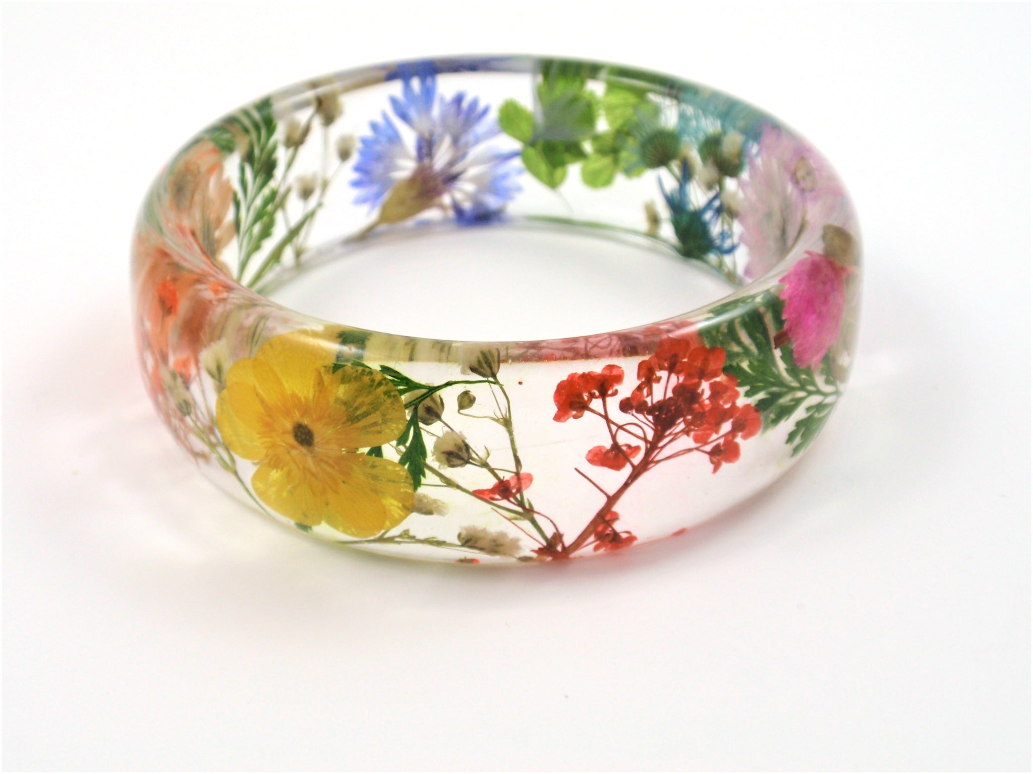 Real Flower Resin rainbow Bracelet, Pressed flower jewelry