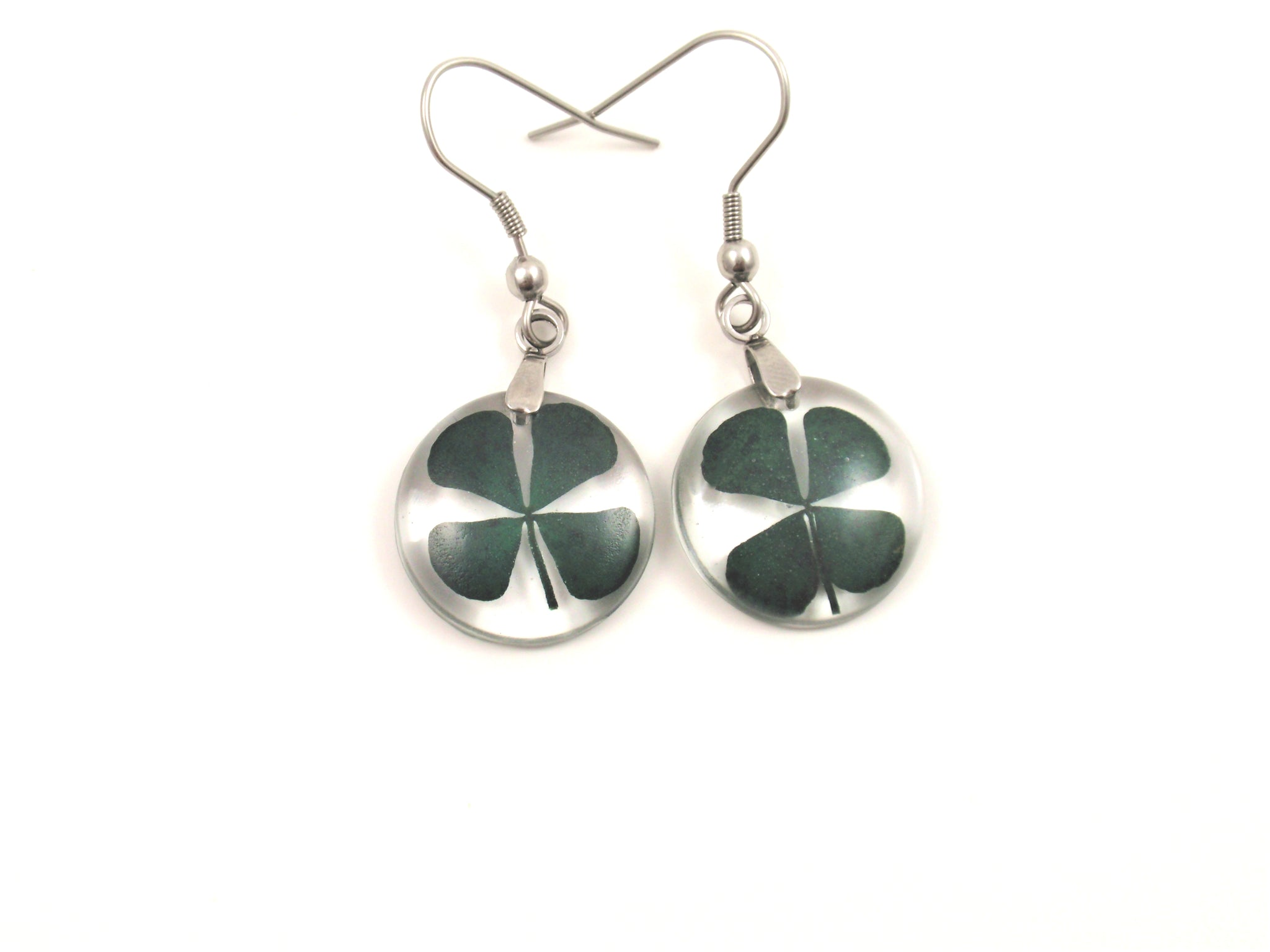 Real Four Leaf Clover Earrings