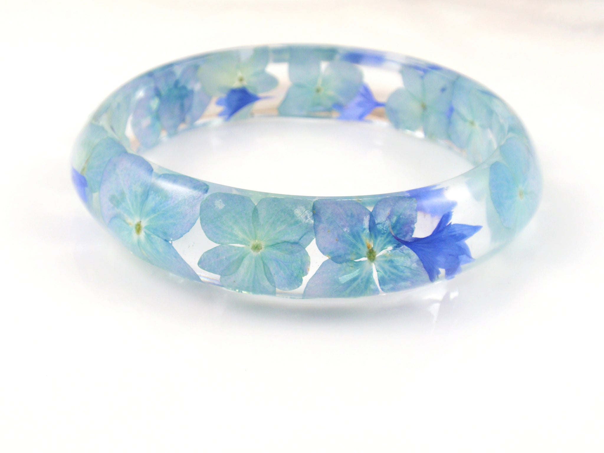 Blue flower Resin Bracelet, Real Flower Resin Bracelet