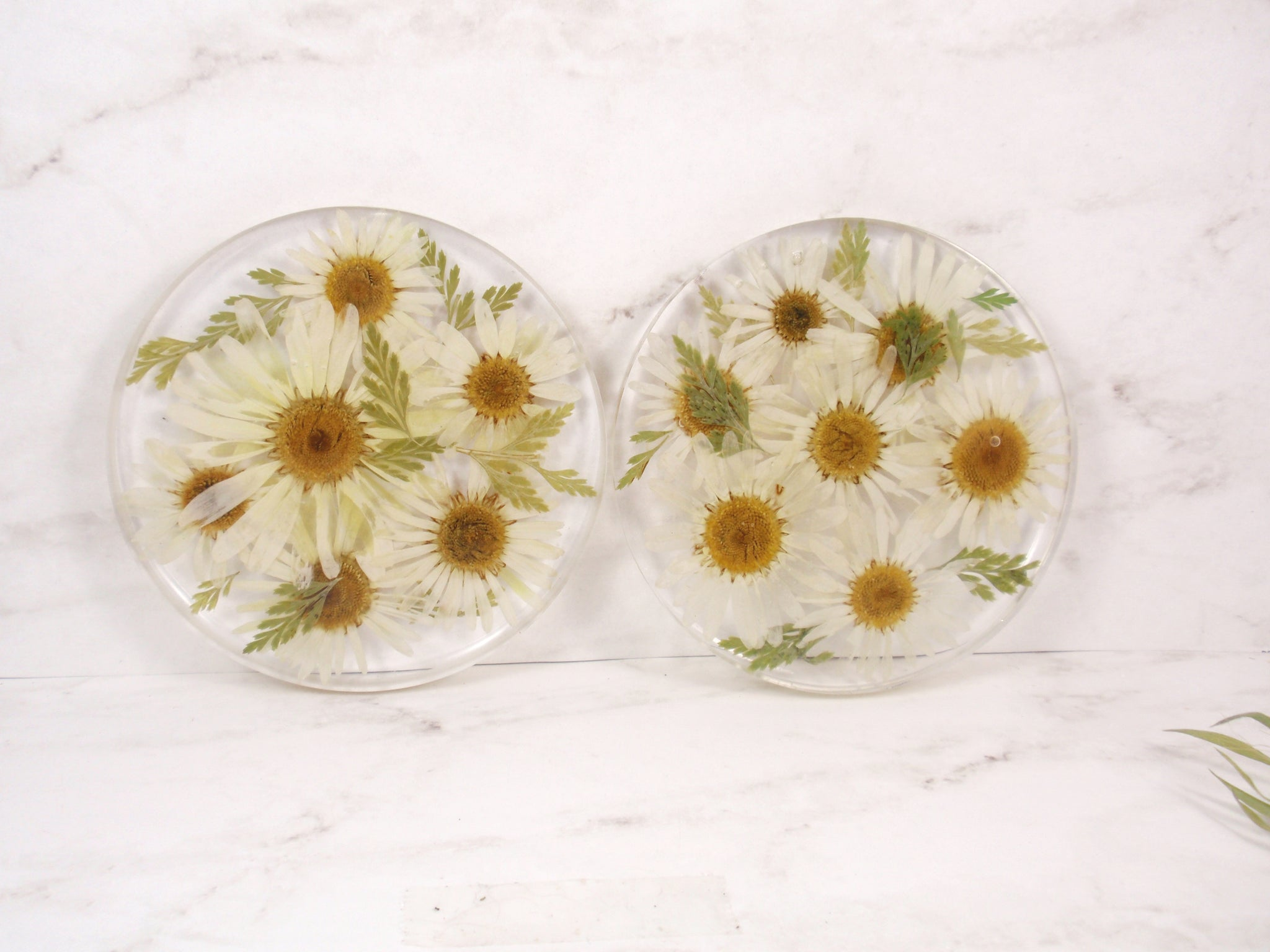 Daisy flower resin coaster home decor decorative tile