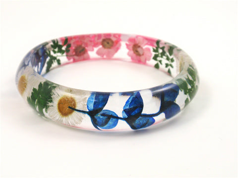 Flower Resin Bangle Bracelet, Real Flower Bracelet, Dried flowers
