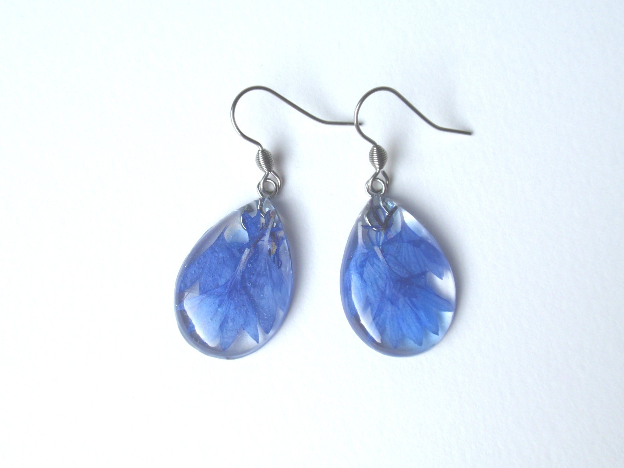 Teardrop earrings with blue Cornflower, bridesmaid jewelry