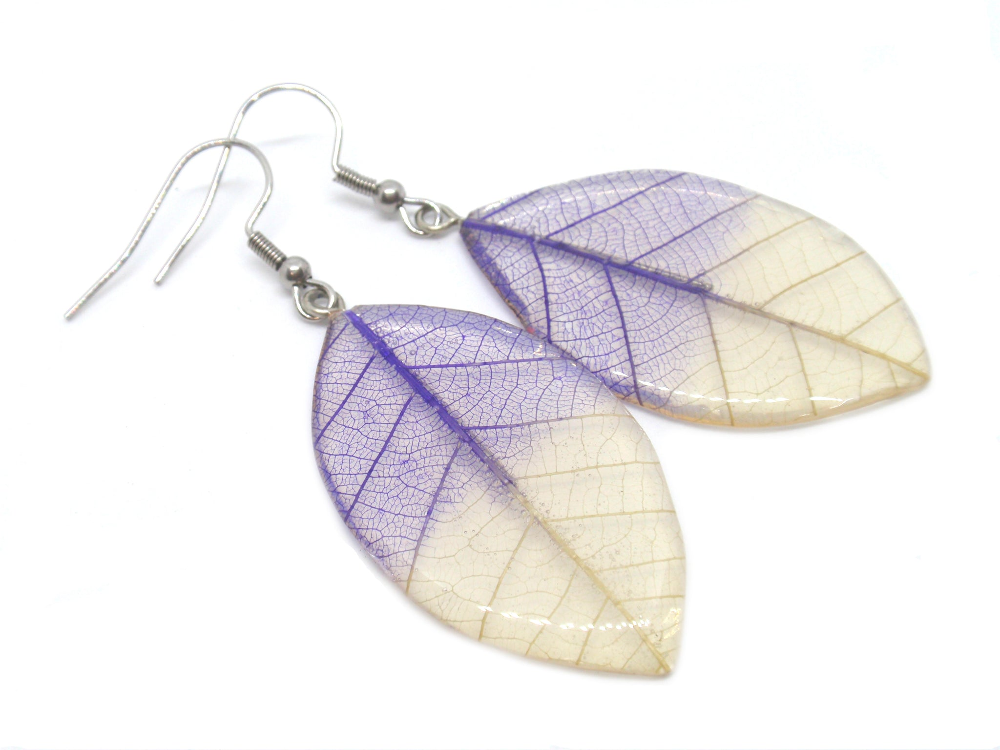 Purple Skeleton leaf dangle drop earrings